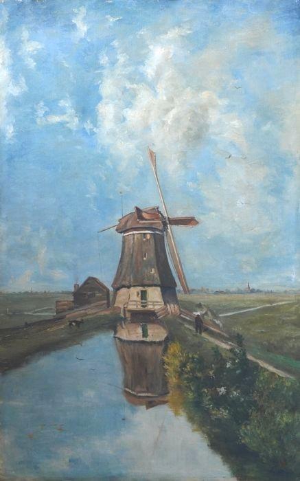 Windmolen in een Hollands landschap