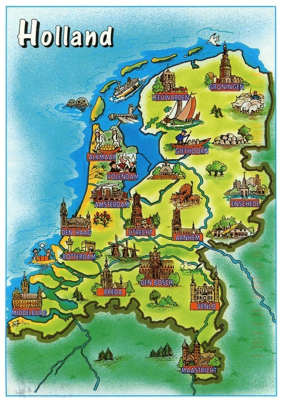 Toeristische kaart van Nederland / Tourist map of the Netherlands