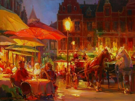 Evening couples in Bruges, the Baranovs