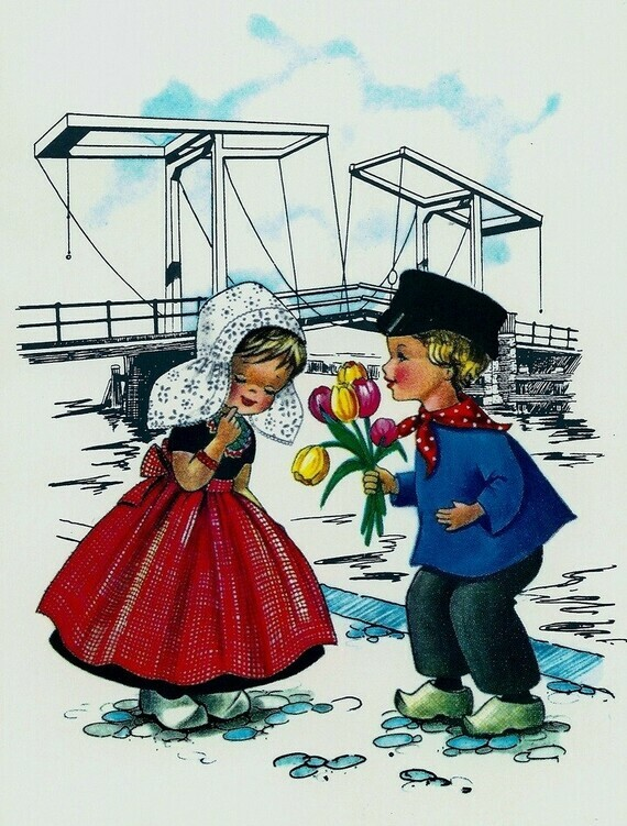 Carte postale 'Dutch boy and girl'