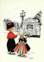 Dutch postcard  (meisje en jongetje, pierement)