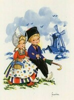 vintage postcard : meisje en jongetje, windmolen
