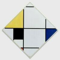 Piet Mondriaan, Ruitvormige compositie met geel, zwart, blauw, rood en grijs