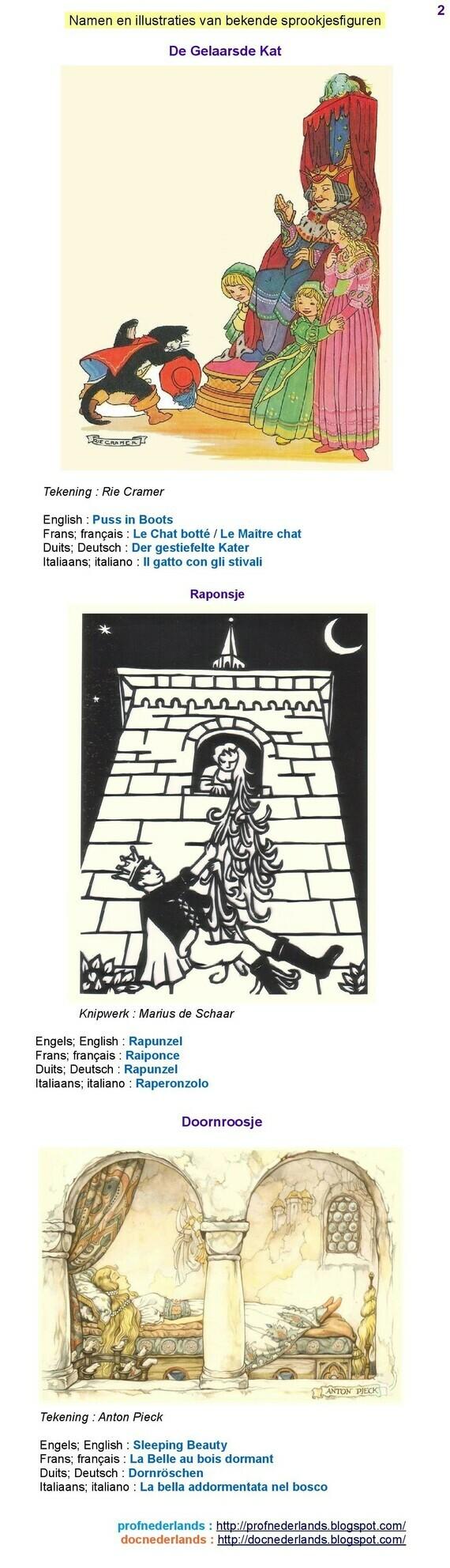 Namen van sprookjesfiguren (2)
