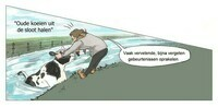 Oude koeien uit de sloot halen (illustratie)