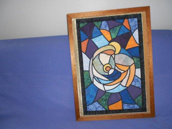 Vierge à l'enfant (vitrail) patchwork
