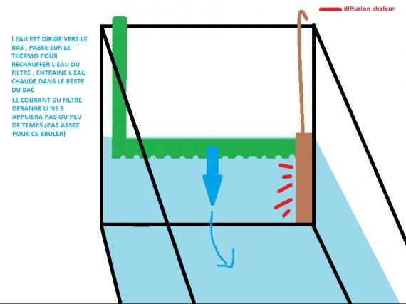 thermoplongeur vertical, le filtre est un plus , mais peut etre caché par decors /!\ tete sous l ea
