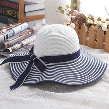 2017-Hot-Sale-Fashion-Hepburn-Wind-Black-White-Striped-Bowknot-Summer-Sun-Hat-Beautiful-Women-Straw-