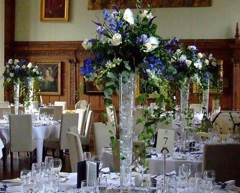 theme mariage bleu mariane blanc argent centre table. Black Bedroom Furniture Sets. Home Design Ideas