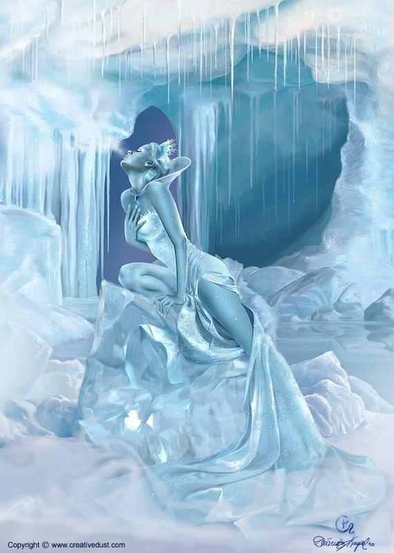 ange bleu en glace