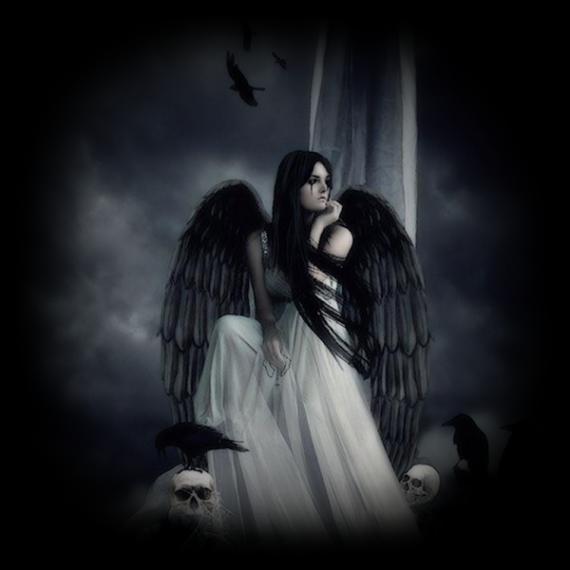 ange femme aux ailes noires