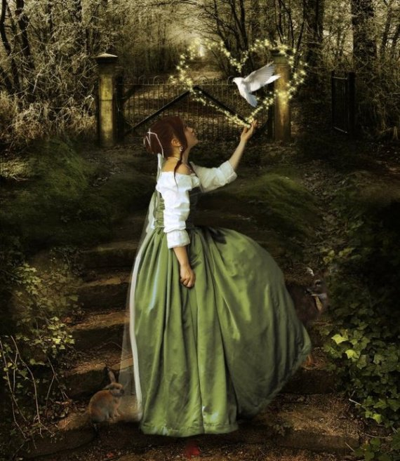 belle jf en longue robe et sous bois