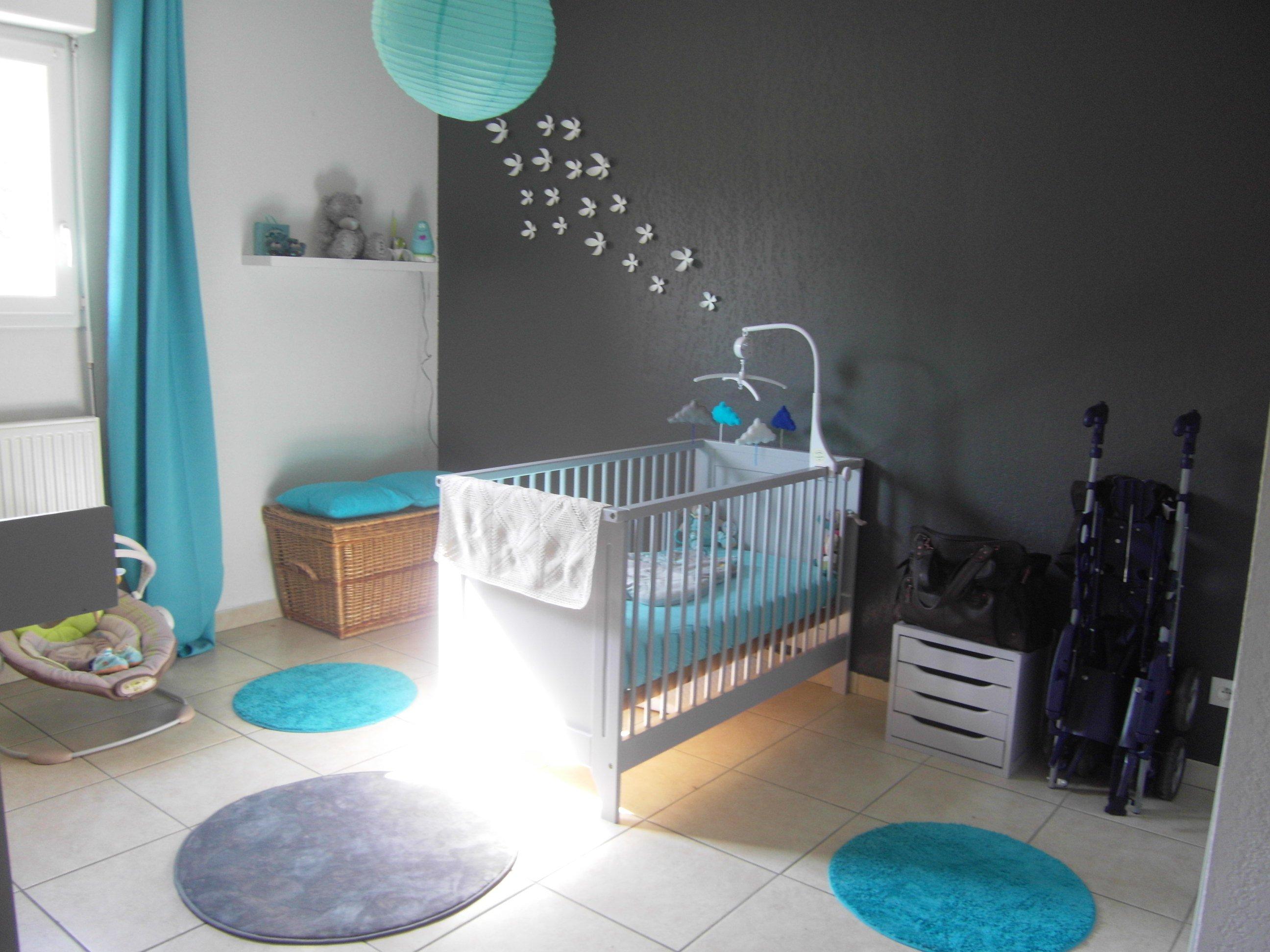 Chambre grise et turquoise pour mon petit gars - Chambre de bébé