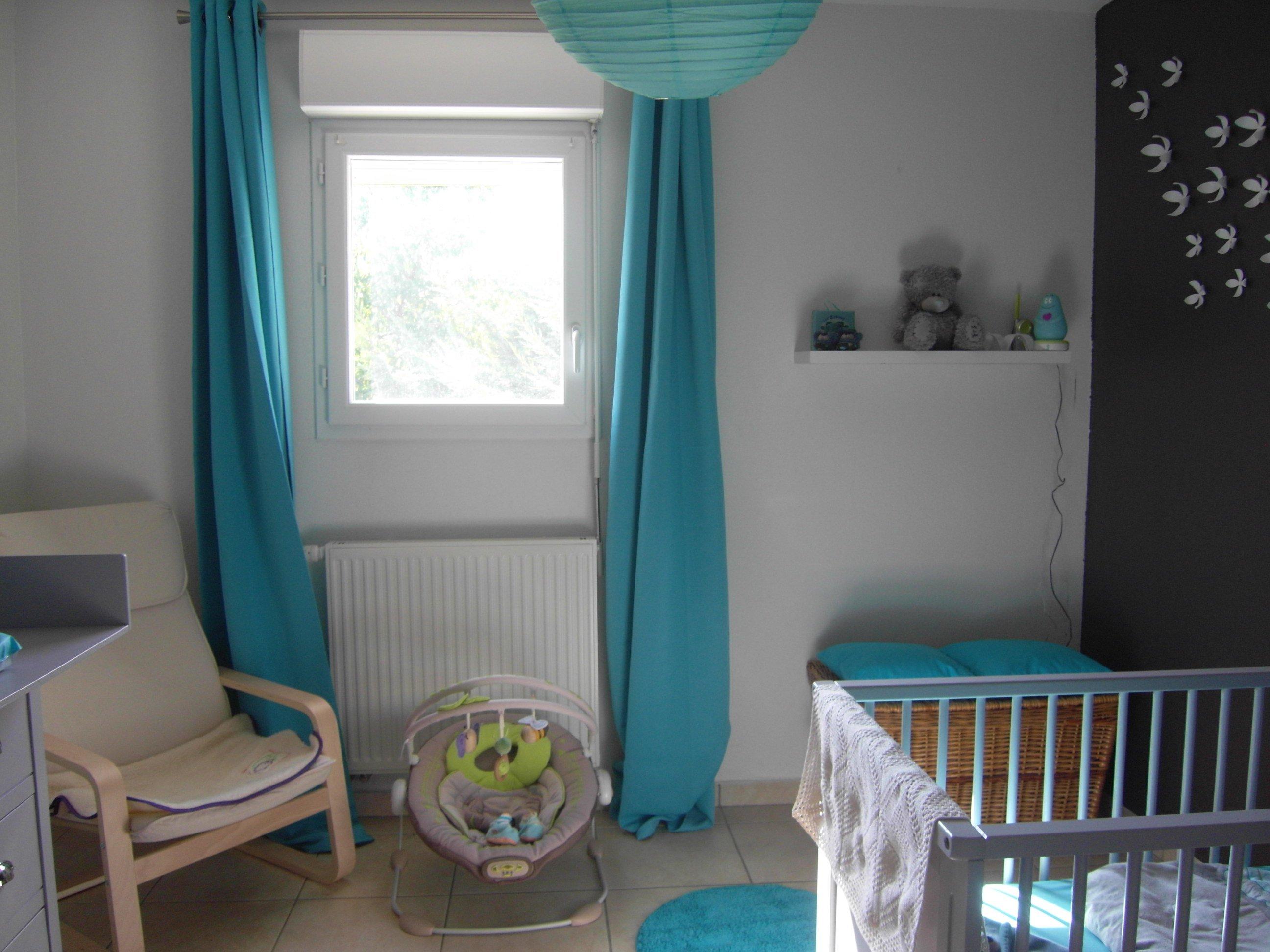 Chambre grise et turquoise pour mon petit gars Chambre de bébé