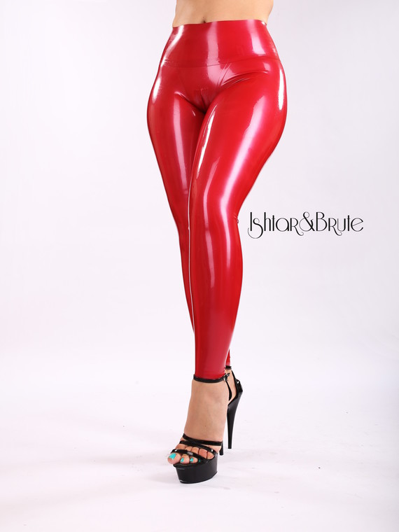 Ishtar and Brute cheeks legging in red latex 5