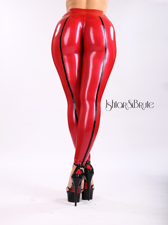 Ishtar and Brute cheeks legging in red latex 3