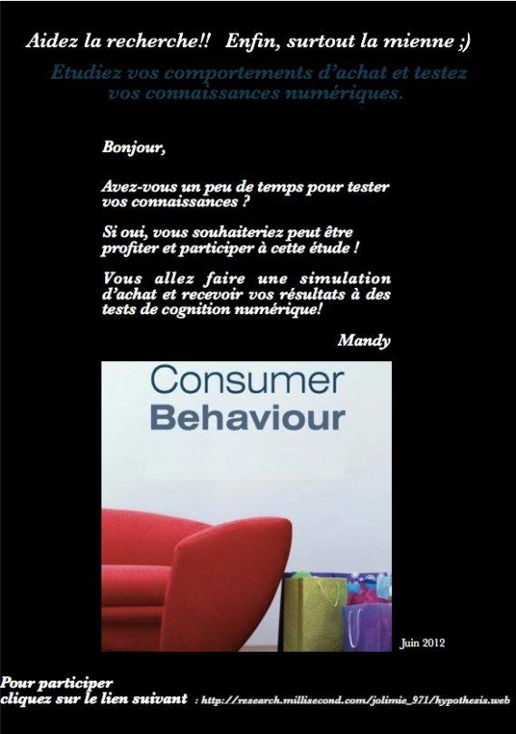 Expérimentation sur le comportement d'achats et la connaissance des prix
