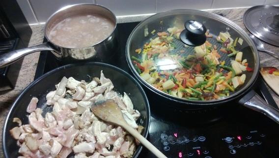 sarrasin / émince poulet-cèpes / poeler wok (mais-pousse bambou-carotte-haricots)
