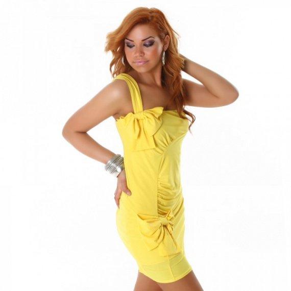 robe-bustier-de-cocktail-avec-noeuds-jaune