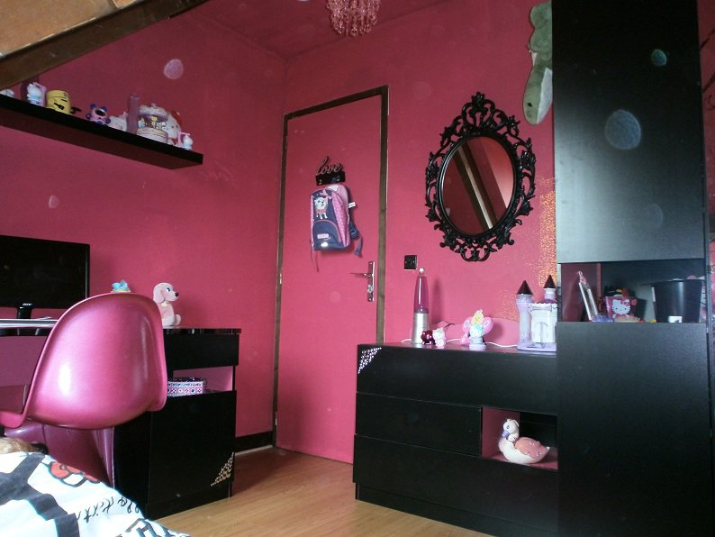 awesome luimage en grand with chambre rose fille - Chambre Rose Et Noir
