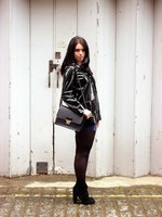 London fashion blogger Emma Louise Layla in black patent waxed Petit Bateau raincoat