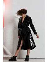 handmade-classical-sexy-knee-length-black-latex-long-women-coat-rain-jacket-trendy-2