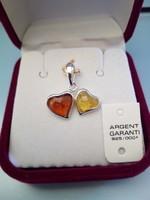 PENDENTIF DOUBLE COEURS EN ARGENT ET AMBRE REF- 300598