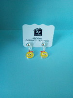 BOUCLES ARGENT EMALLE SMILEYS REF- 101154