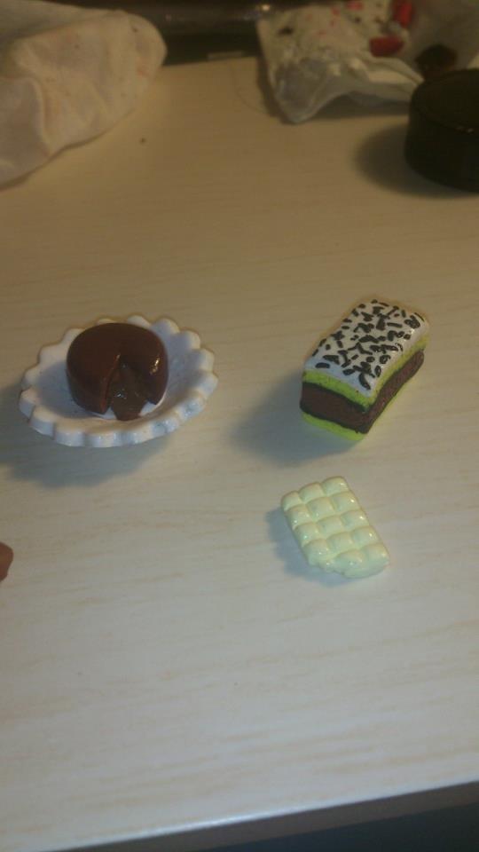 Fondant au chocolat, plaque de chocolat blanc et napolitain