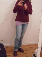 Jeans délavé - pull violet