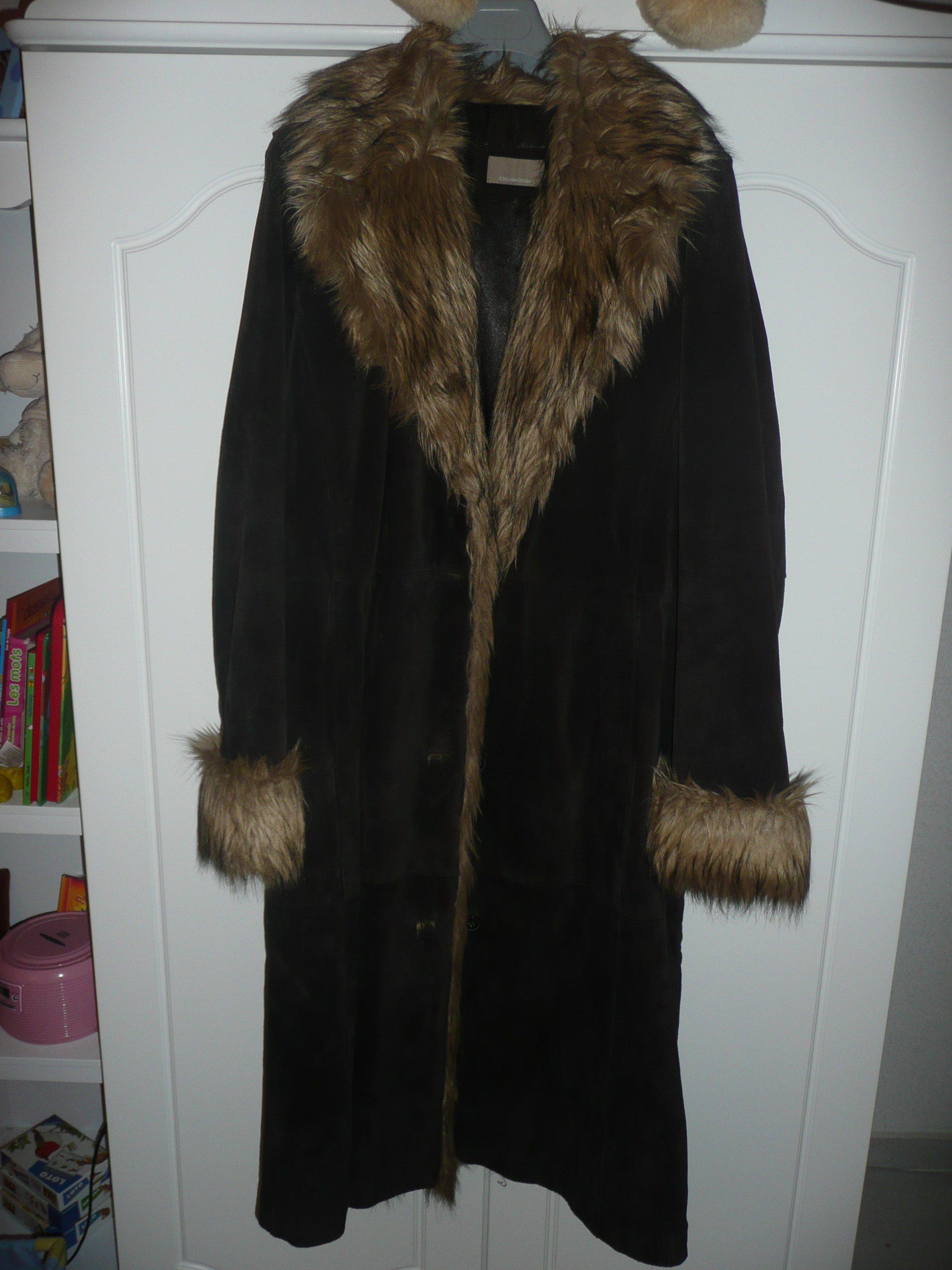 Manteau peau fourrure femme