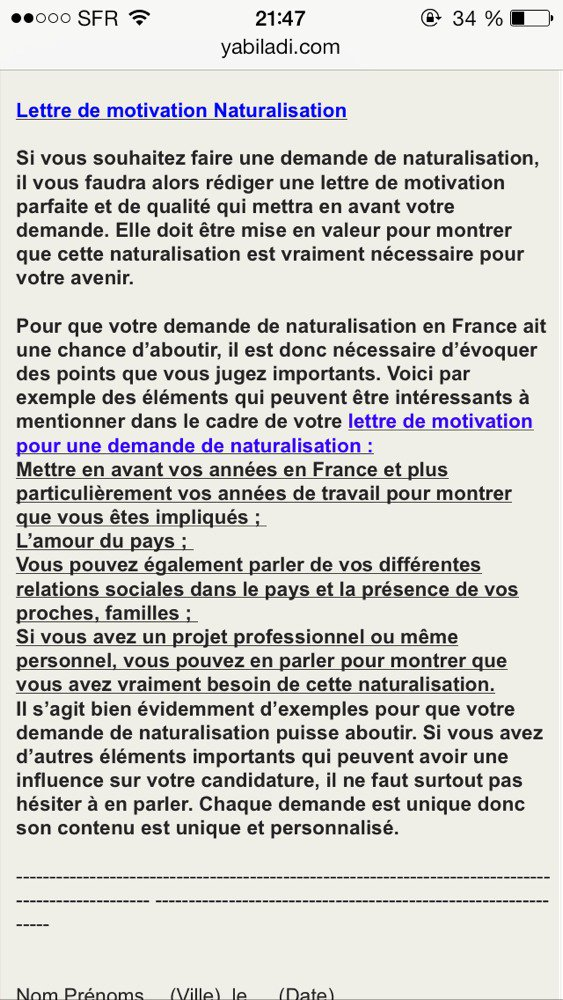 modele lettre de motivation naturalisation