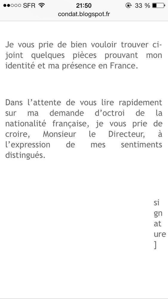 Lettre De Motivation Pour Acquérir Nationalité Française