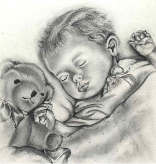bebe+nounours dessin
