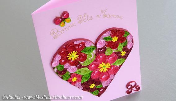 Carte f te des meres relief papier roul coll fabriquer une carte de f te des m res avec la - Fabriquer cadeau fete des meres ...