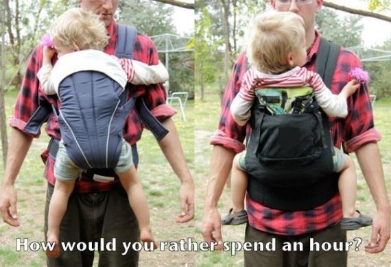 a gauche un porte bébé non respectueux a droite un respectueux