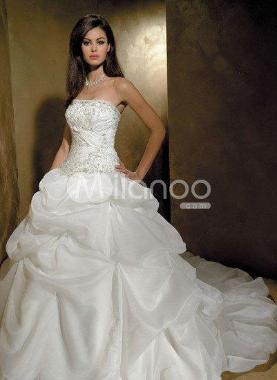 Elegant-White-Satin-Organza-Strapless-Ball-Gown-Wedding-Dress-12811-0