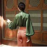RUGOD-2018-New-Women-Silk-Satin-Bow-Long-Lantern-Sleeve-Blouse-Elegant-Office-Lady-Work-Shirt