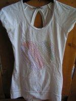 tee shirt fantaisie blanc coeur strass de couleur