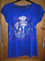 Tee shirt bleu electrique jennifer a paillettes
