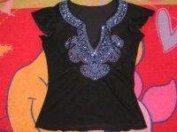 Tee shirt genre tunisien taille 38/40 paillette bleu