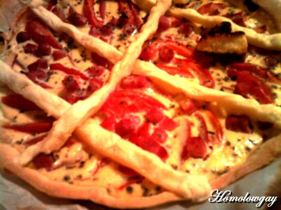 Tarte tomate moutarde origan aux croisillons de mémée