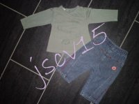 "6 euros Ensemble tee shirt ""défi mode""et pantalon 12 mois ""LCDP"""