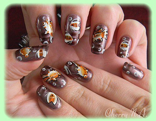 Nail-art-poisson-fish-bulles