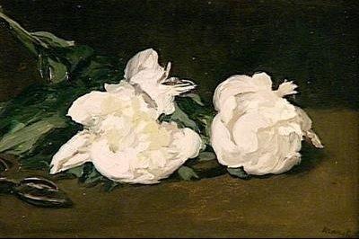 MANET edouard-1864-branche de pivoines blanches