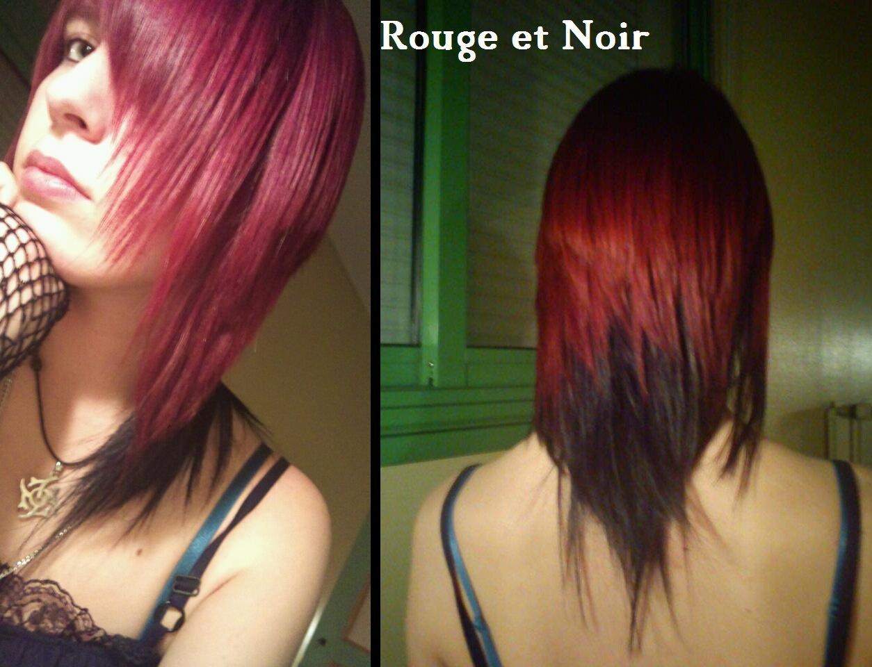 Couleur de cheveux noir et rouge