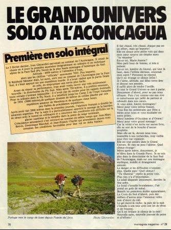 Ivano Ghirardini, première solitaire face sud Aconcagua 2