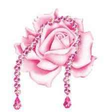 Rose et collier de crystal