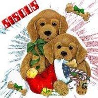 chiens bisous de Noël