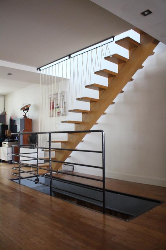 garde-corps d' escalier,acier et sandows.
